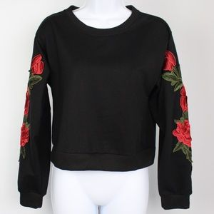 Tops - Black long sleeve knit top red rose embroidered